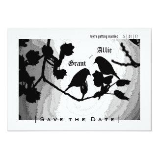 Chic-Liebe-Vogel-Silhouetten lädt Save the Date Karte