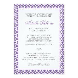 Chic-lila Damast-Schläger Mitzvah Einladung