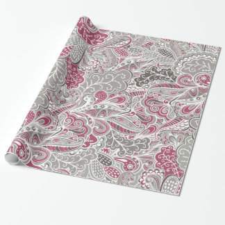 Chic-lila und graues abstraktes Paisley-Muster Einpackpapier