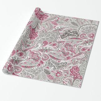 Chic-lila und graues abstraktes Paisley-Muster Geschenkpapier