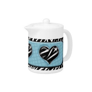 Chic mein Herz - blaue Zebra-Druck-Teekanne
