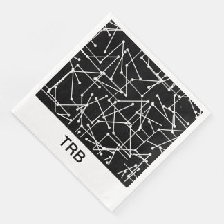 CHIC-MOD-WEISSES GEOMETRISCHES MIT MONOGRAM_DIY SERVIETTE
