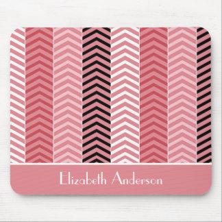Chic-moderne rosa Zickzack Streifen mit Namen Mousepad