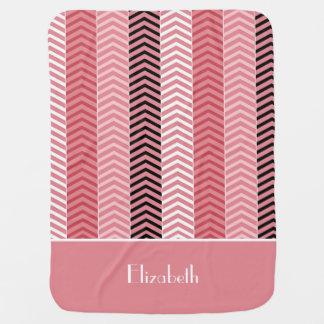 Chic-moderne rosa Zickzack Streifen mit Namen Puckdecke