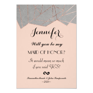 Chic-moderne Rosen-GoldGeo Trauzeugin-Einladung 12,7 X 17,8 Cm Einladungskarte