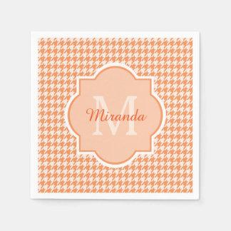 Chic-Monogramm-orange Hahnentrittmuster mit Namen Serviette