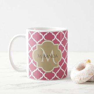Chic-Monogramm-Rosen-Rosa TAN Quatrefoil und Name Kaffeetasse