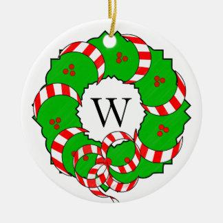 CHIC ORNAMENT_CHRISTMAS WREATH/MONOGRAM RUNDES KERAMIK ORNAMENT