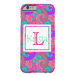 Chic-Preppy Paisley-Gewohnheit mit Monogramm Barely There iPhone 6 Hülle