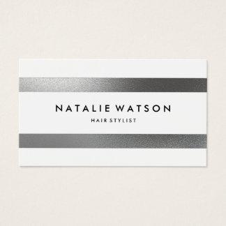 Chic raue IMITAT silberne Streifen-weißes modernes Visitenkarte