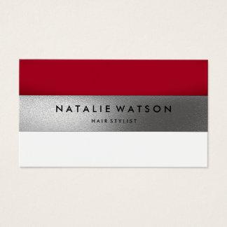 Chic raues IMITAT silberner Streifen rote moderne Visitenkarte