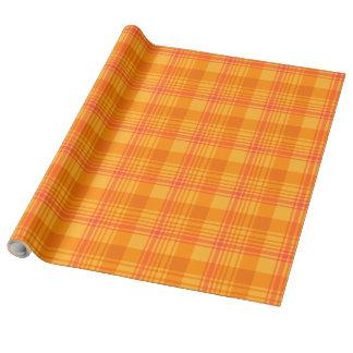 Chic-Ringelblumen-Gemisch-orange kariertes Geschenkpapier