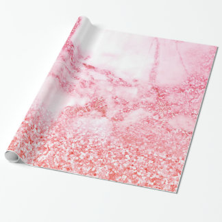 Chic-rosa eleganter Rosen-GoldGlitzer-Marmor Geschenkpapier