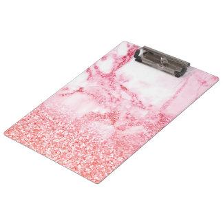 Chic-rosa eleganter Rosen-GoldGlitzer-Marmor Klemmbrett