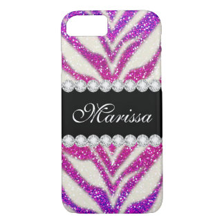 Chic-rosa lila Glitter-SchwarzesZebra iPhone 7 iPhone 7 Hülle