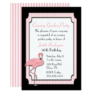 Chic-rosa und schwarze Flamingo-Party Einladung