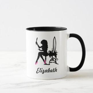 Chic-rosa und schwarze Frau der Mode-Silhouette Tasse