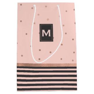 Chic-Rosen-Gold und graue Geschenk-Tasche Mittlere Geschenktüte