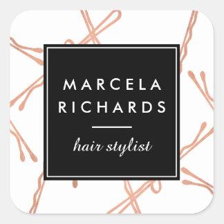 Chic-Rosen-Goldbobby-Button-Haar-Stylist-Salon Quadratischer Aufkleber