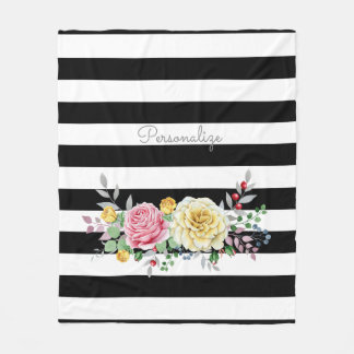 Chic-Rosen-Trendy schwarze mit Blumenstreifen und Fleecedecke