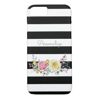 Chic-Rosen-Trendy schwarze mit Blumenstreifen und iPhone 8/7 Hülle