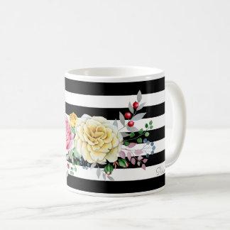 Chic-Rosen-Trendy schwarze mit Blumenstreifen und Kaffeetasse