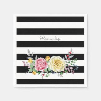 Chic-Rosen-Trendy schwarze mit Blumenstreifen und Serviette