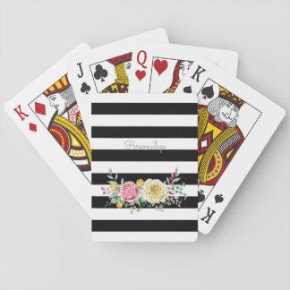 Chic-Rosen-Trendy schwarze mit Blumenstreifen und Spielkarten