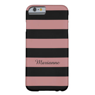 Chic-Rosengold und -SCHWARZES striped Barely There iPhone 6 Hülle