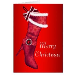 Chic-rote Strumpf-Weihnachtskarten Karte