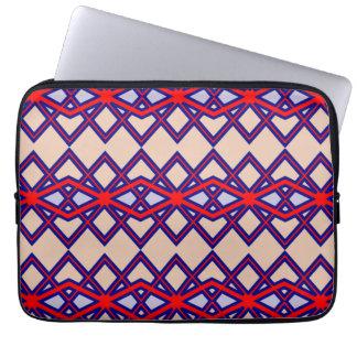 Chic-rote u. blaue Diamant-Blumen-Laptop-Hülsen Laptop Sleeve