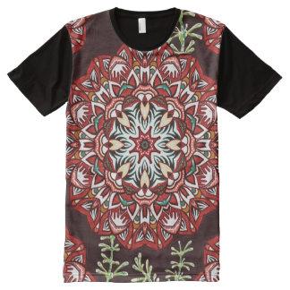 Chic-rotes KreisBlumen-Muster T-Shirt Mit Bedruckbarer Vorderseite