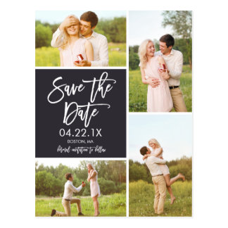 Chic-Save the Date Collage 4-Foto Postkarte