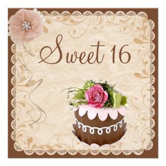 Chic-Schokoladen-Kuchen-u Diamant-Rosen-Bonbon 16 Individuelle Einladung