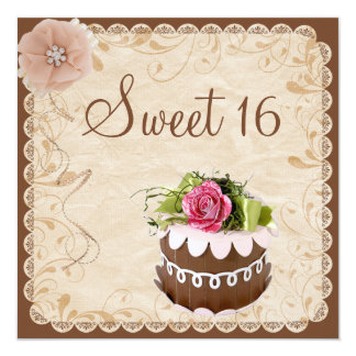 Chic-Schokoladen-Kuchen-u. Diamant-Rosen-Bonbon 16 Quadratische 13,3 Cm Einladungskarte