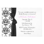 Chic-schwarze u. weiße Damast-Brautparty-Einladung