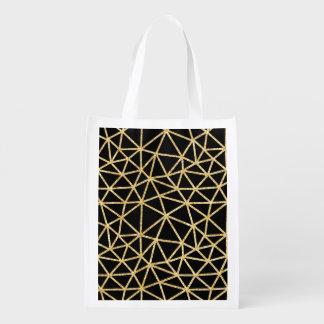 Chic-schwarzer GoldGlitzer-Streifen-geometrisches Wiederverwendbare Einkaufstasche