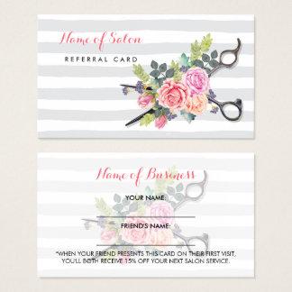 Chic Scissors Streifen und Rosen-Freund-Empfehlung Visitenkarte