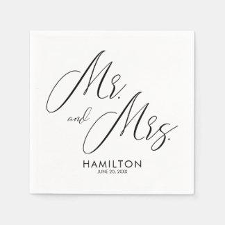 Chic-Skript-Herr u. Frau Wedding Reception Napkins Papierserviette