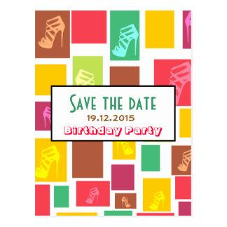 Chic-Spaß-bunte Geburtstags-Save the Date Postkarte