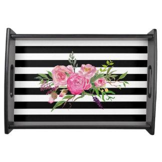 Chic-Streifen und BlumenServiertablett Serviertablett