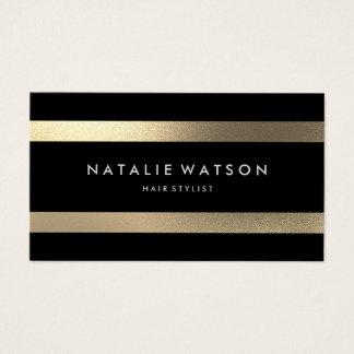 Chic Stripes raues IMITAT Gold moderne elegante 2 Visitenkarte