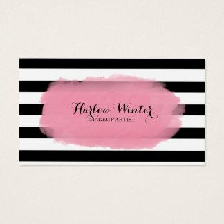 Chic Stripes rosa Schwarz-weißen Make-upkünstler Visitenkarte