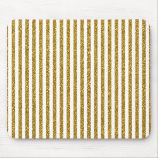 Chic-Trendy Goldweiß-Streifen-Glitter-Foto-Druck Mousepads