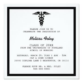 Chic-Trendy medizinische SchulAbschluss-Mitteilung Quadratische 13,3 Cm Einladungskarte