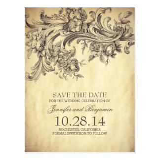 Chic-Vintage BlumenWirbels-Save the Date Postkarte