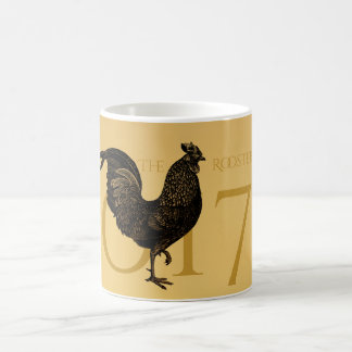 Chic-Vintages Hahn-Jahr-personalisiertes Monogramm Kaffeetasse