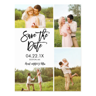 Chic-Weiß-Save the Date Collage 4-Foto Postkarten