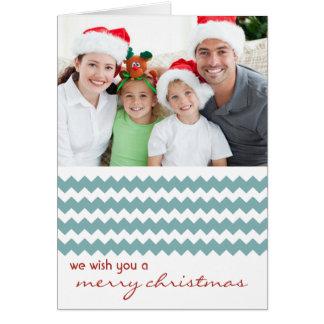 Chic-Zickzack Blau gefaltete Weihnachtskarte Karte
