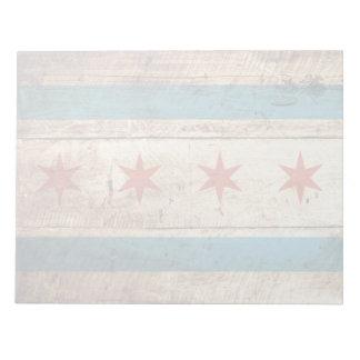 Chicago-Flagge auf altem hölzernem Korn Notizblock
